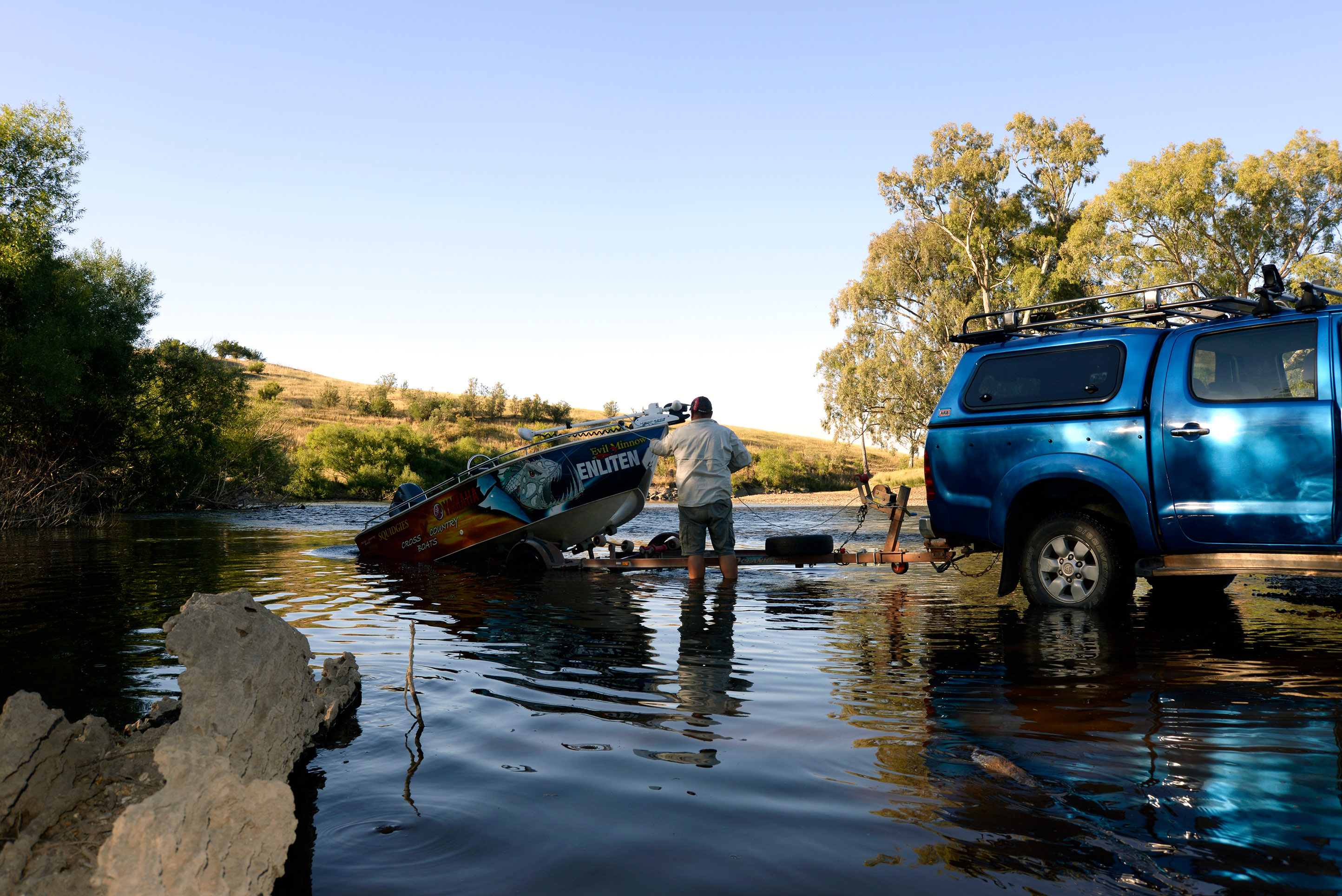 It's possible to get a trailer boat into some of the longer, deeper holes at times.