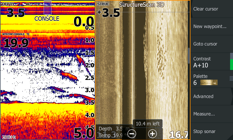 """An interesting contrast between the """"floodlight"""" of sonar (left) and the """"spotlight"""" of StructureScan (right) on the same school of fish. SideScan shows that the school was to the right of the boat. Sonar would've left us guessing on this."""